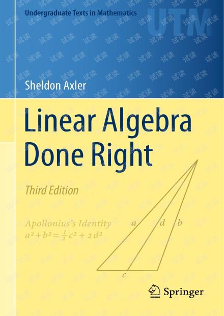 Linear algebra done right (线性代数应该这样学) 第三版