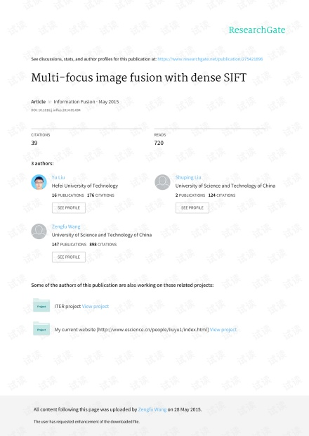 Multi-focus image fusion with dense SIFT一文