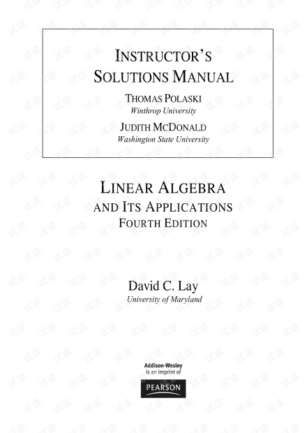 Linear Algebra and Its Applications 4e Solutions Manual