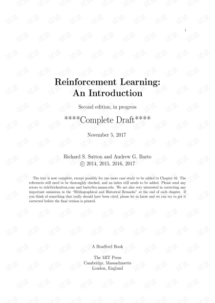 Reinforcement Learning - An Introduction 2nd (final draft Nov 5 2017)