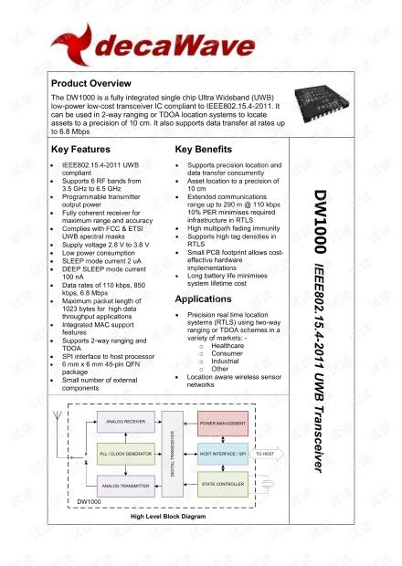 UWB 芯片DW1000 datasheet