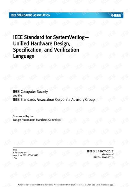 2018年最新版   1800-2017 - IEEE Standard for SystemVerilog(2018.8299595)