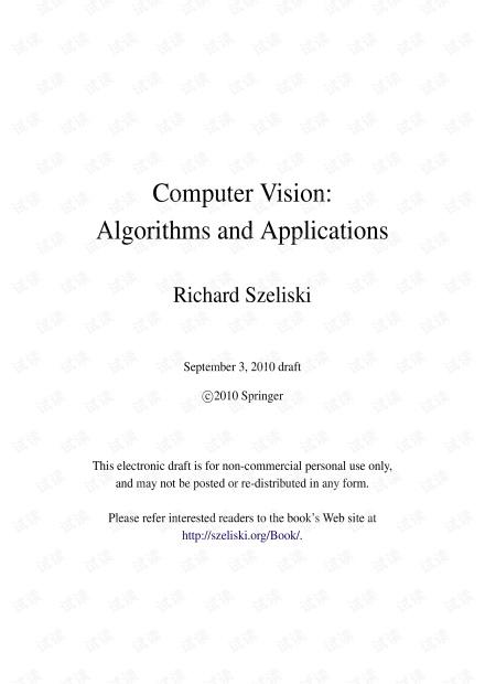 Computer Vision: Algorithms and Applications 机器视觉算法与应用 Richard Szeliski 2010 文字版