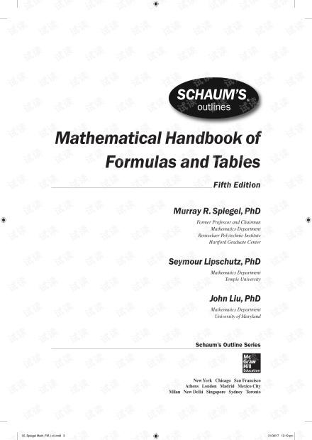 Mathematical Handbook of Formulas and Tables,5E,M.R. Spiegel,2018