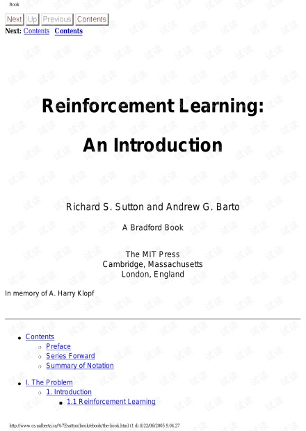 Reinforcement Learning-An Introduction  by Sutton R S,Barto A G