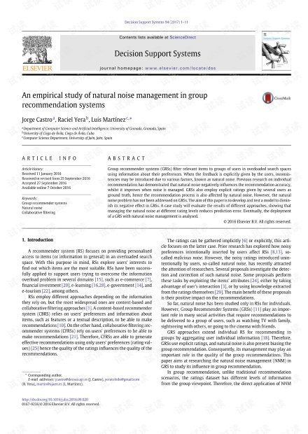 An empirical study of natural noise management in group recommendation systems