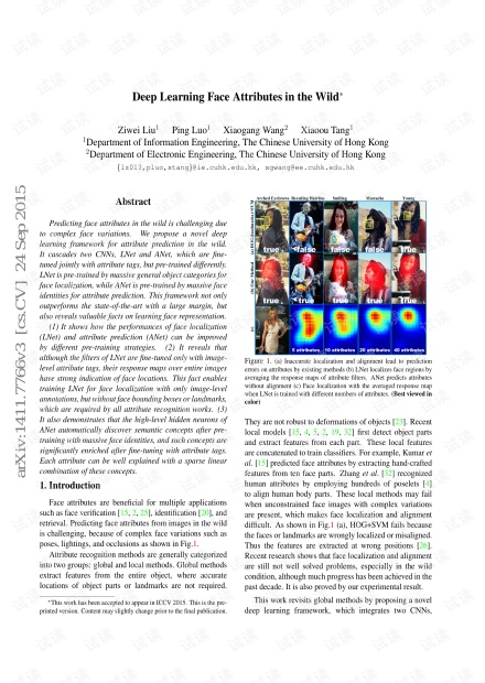 复杂环境下的人脸识别Deep Learning Face Attributes in the Wild