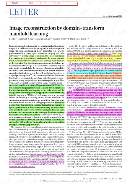 Image reconstruction by domain-transform manifold learning