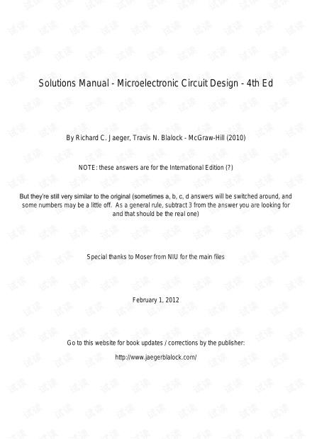 微电子电路设计第四版课后习题答案