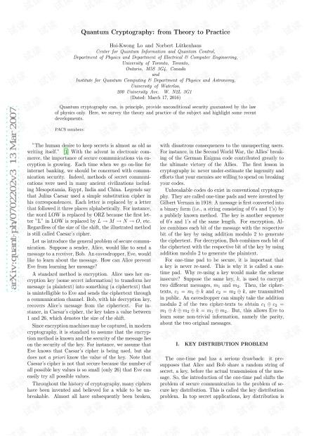 量子密码学-从理论到实践