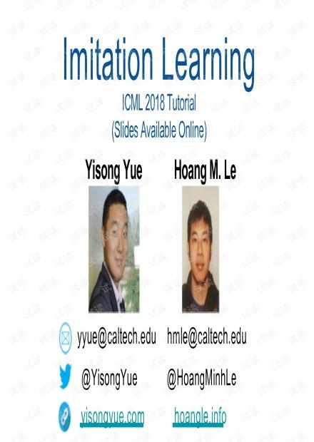 ICML 2018强化学习tutorial: Imitation Learning
