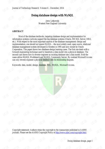 mysql数据库外文文献