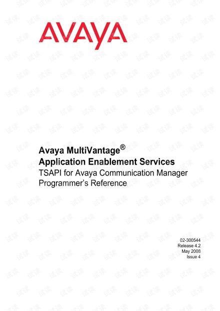 TSAPI for Avaya Communication Manager Programmer's Reference