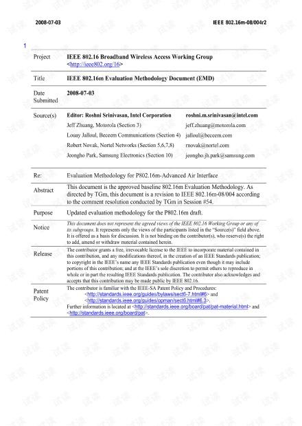 IEEE 802.16m Evaluation Methodology Document