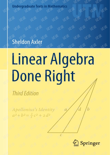 Linear Algebra Done Right 3th edition
