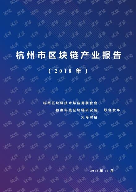 数秦科技:2018年杭州市区块链产业报告