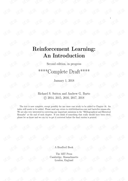Reinforcement Learning(Second edition)-sutton (draft2018)