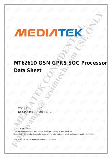 MT6261 datasheet