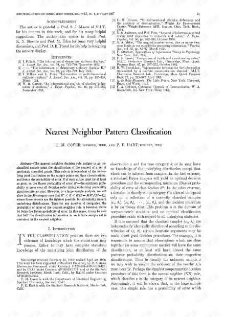 T.Cover P.Hart Nearest Neighbor Pattern Classification