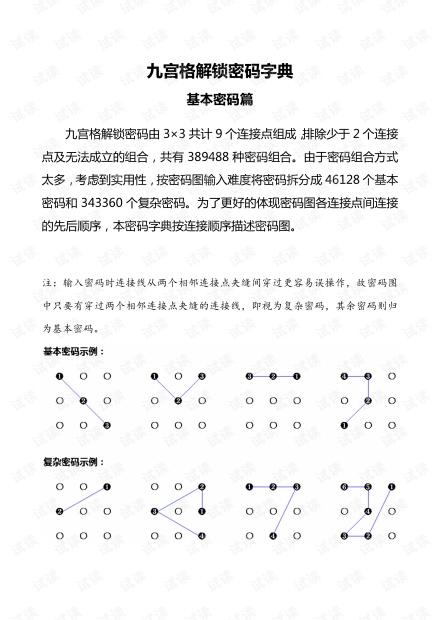 九宫格手机锁屏密码字典,图案密码字典,锁屏图案密码大全《基本密码篇》