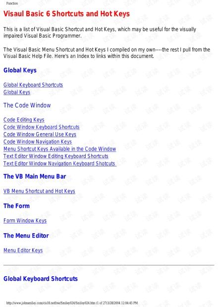 Visual Basic 6 Shortcut and Hotkeys