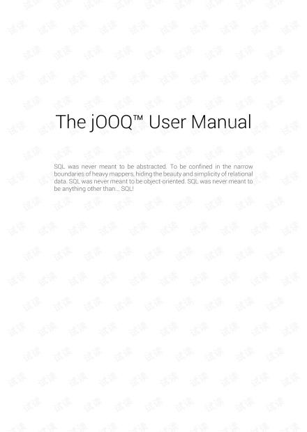 The jooq User Manual