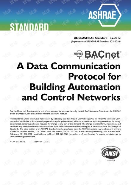 BACNET: ASHRAE Standard 135-2012