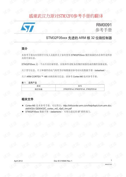STM32F0 参考手册 中文资料 目录本人亲自整理了一下,比官网更简约,可用福昕阅读器查看