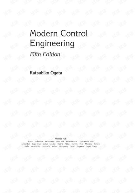 现代控制工程, 第五版 (Modern Control Engineering, 5ed)-Katsuhiko Ogata, 高清版