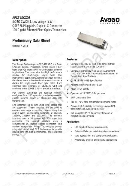 100G QSFP28 CWDM4 光模块数据手册