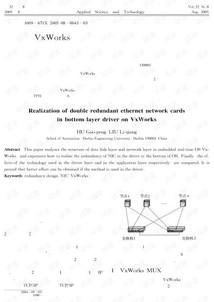 研究论文-VxWorks环境下双冗余以太网卡技术在底层驱动中的实现.pdf