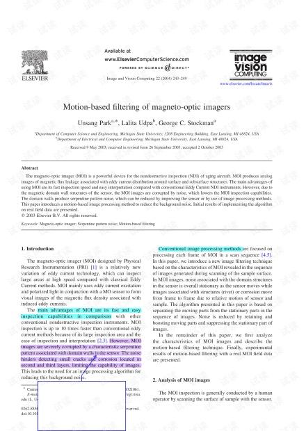 求助关于motionbasedfilter算法的matlab实现-【D 2003 MOI 图像处理】Motion-based filtering of magneto-optic imagers.pdf