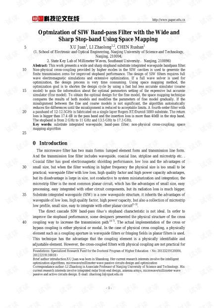 论文研究-Optmization of SIW Band-pass Filter with the Wide and Sharp Stop-band Using Space Mapping.pdf