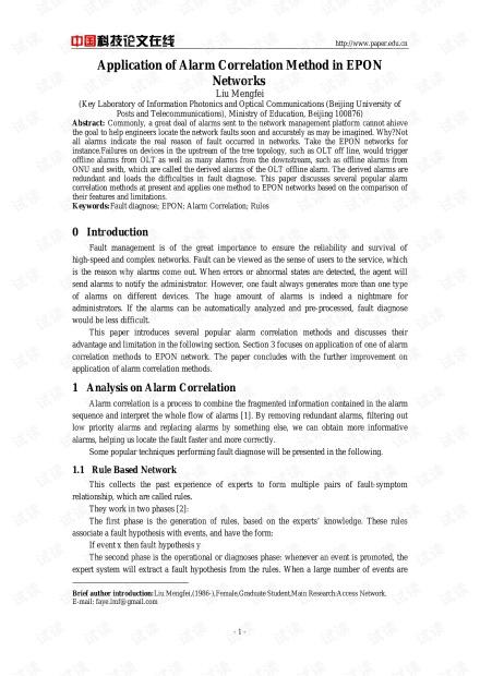 论文研究-Application of Alarm Correlation Method in EPON Networks.pdf