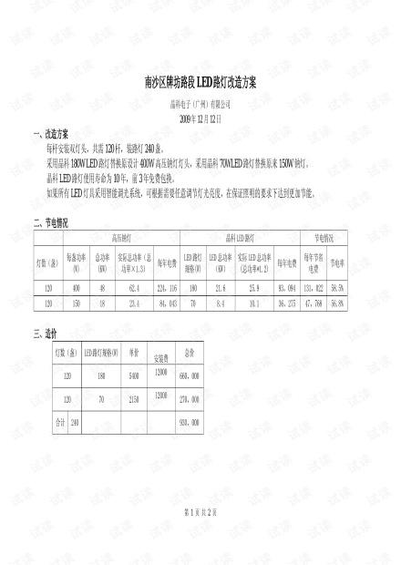 广州南沙区LED路灯改造方案.pdf