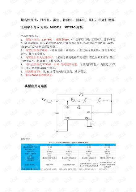 MH50xx系列:超高性价比,日行灯、雾灯、转向灯、刹车灯、尾灯、示宽灯等等-低功率车灯ic方案.pdf