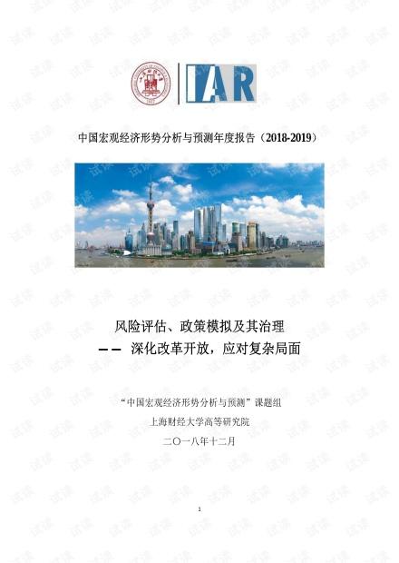 中国宏观经济形势分析与预测年度报告(2018-2019)-上财-201812.pdf
