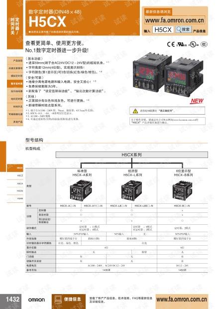 欧姆龙数字定时器(DIN48×48) H5CX说明书.pdf