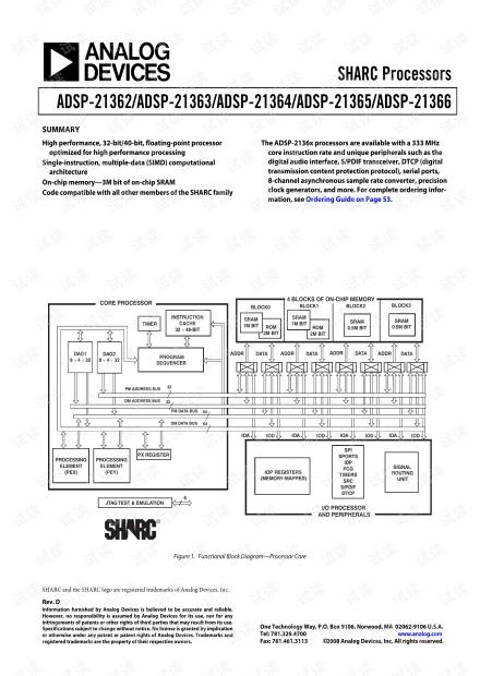 ADI ADSP-21364:面向专业音频的高精度32位浮点SHARC处理器英文产品数据手册.pdf