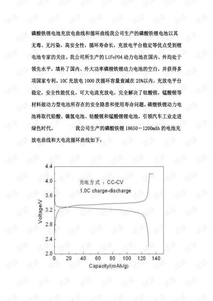 磷酸铁锂电池充放电曲线和循环曲线.pdf