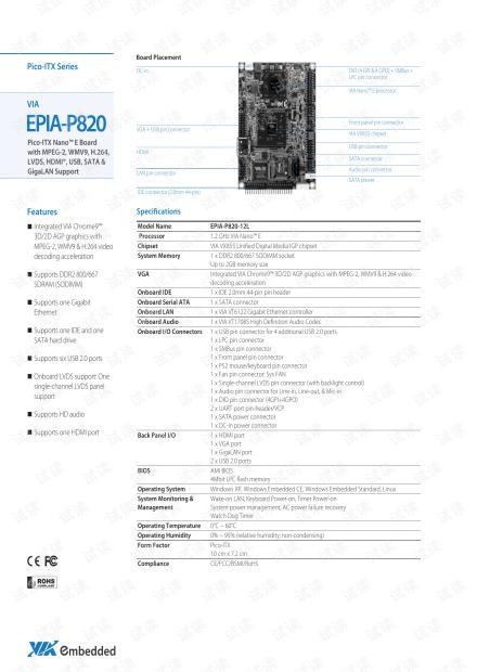 威盛 EPIA-P820 Pico-ITX系列嵌入式主板产品简介(英文).pdf