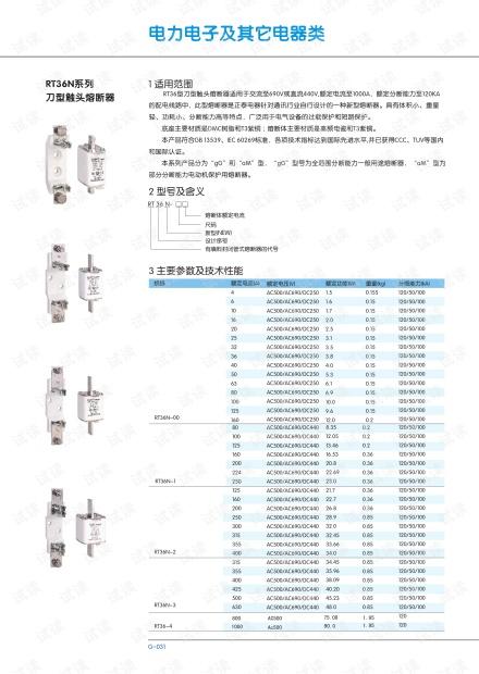 正泰RT36N系列刀型触头熔断器.PDF