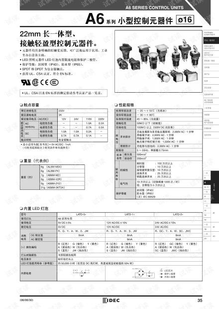 IDEC(爱德克)和泉电气 A6系列开关及指示灯小型控制元器件选型指南.pdf
