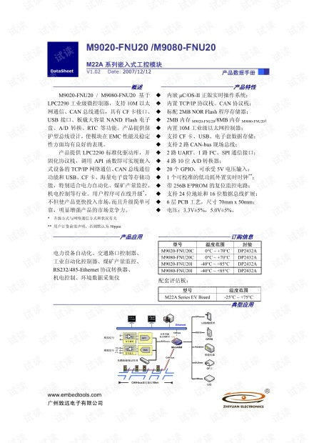 致远电子 M9020-FNU20/9080-FNU20 MM22A系列嵌入式工控模块数据手册.pdf