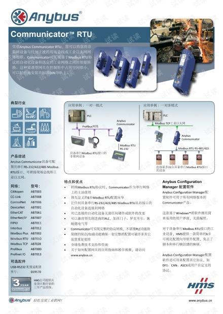 Anybus Communicator RTU数据手册.pdf