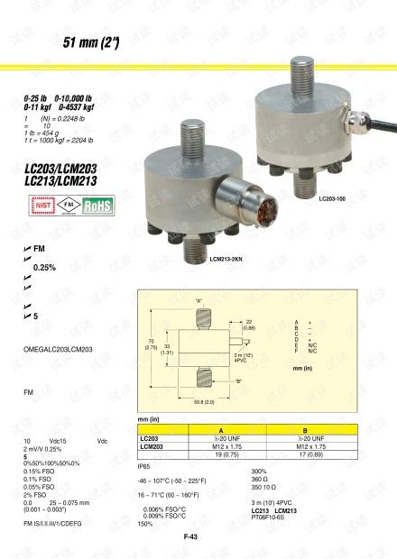 OMEGA的LC203/LCM203系列称重传感器选型样本.pdf
