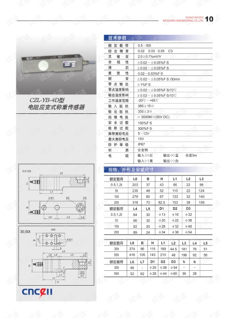余姚太平洋 CZL-YB-4D型电阻应变式称重传感器手册.pdf
