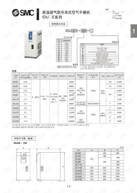 smc-干燥机-高温进气型冷冻式空气干燥机IDU.pdf.pdf
