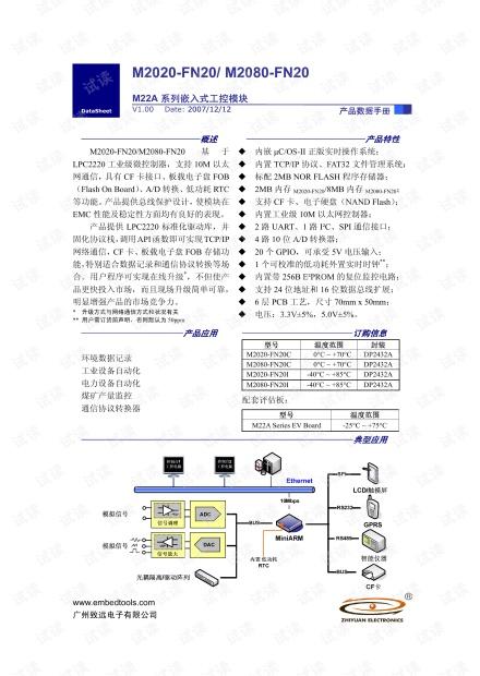 致远电子 M2020-FN20/M2080-FN20 M22A系列嵌入式工控模块数据手册.pdf