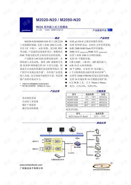 致远电子 M2020-N20/M2080-N20 M22A系列嵌入式工控模块数据手册.pdf